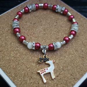 Handmade Reindeer Christmas 6 3/4 bracele
